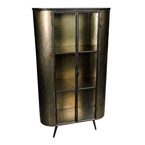 Vitrinenschrank Spacer Vintage Metall Glas Messing Gold