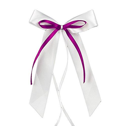 Miya@ hochwertige 30 Weiss & Lila Antenneschleifen aus Satin Autoschmuck Autoschleifen Deko Hochzeit Party