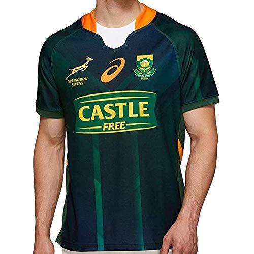 YINTE 2020 Südafrika 7s WM Rugby Trikot, 100. Jubiläum Edition Rugby Polo Shirt Training T-Shirt, Springbok Champion Signed Edition Unterstützer Fußball Sport Top Green-XXL