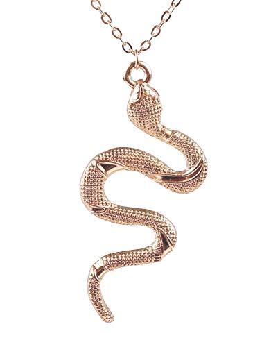 Collar con colgante de serpiente de acero dorado con cadena de acero.