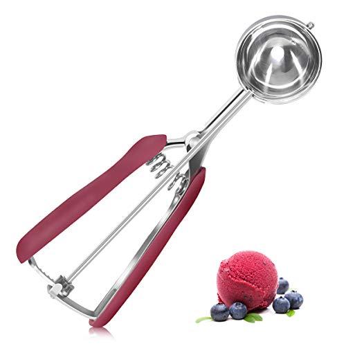 BFGTOR Cuchara para helado de 18 cm, cuchara para helado con expulsor, acero inoxidable pulido, dosificador para bolas de hielo, arroz, bolas de melón, masa de galletas