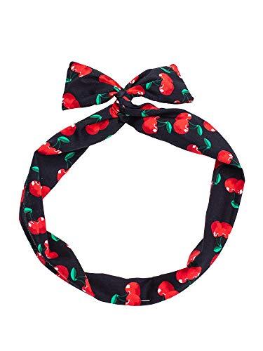 SETRINO Haarband schwarz Draht rote Kirschen als Haarschmuck Kopfband Pinup 50er Rockabilly