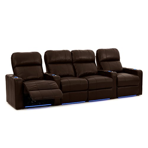 Octane Seating Turbo XL700 Home Theater Seating Brown Leather - Power Recline - Straight Row 4 Chairs - Storage Arms - Lighted Cup Holders & Baserail - Memory Foam
