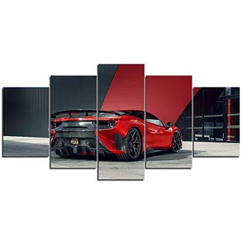 Cuadros colgantes de lienzo de 5 piezas Coche de carreras rojo Sala de estar Dormitorio Oficina Decoración mural para el hogar Pared de fondo Obras de arte de alta definición 200 × 100 cm (sin marco)