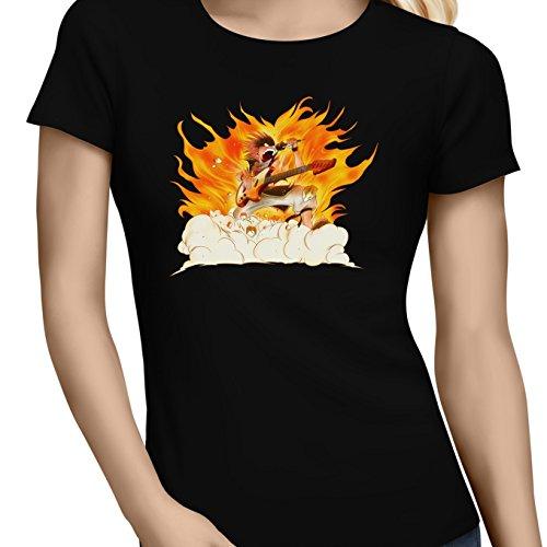 Okiwoki T-Shirt Femme Noir Parodie Fairy Tail - Natsu - Un Chanteur Qui met Le feu. (V2) ! (T-Shirt de qualité Premium de Taille L - imprimé en France)