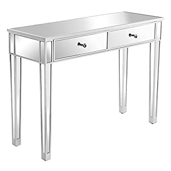 VINGLI Mirrored Desk Entry Table with 2 Drawers Mirrored Console Tables for Entryway Mirrored Vanity Makeup Table for Teenage/Girls Silver