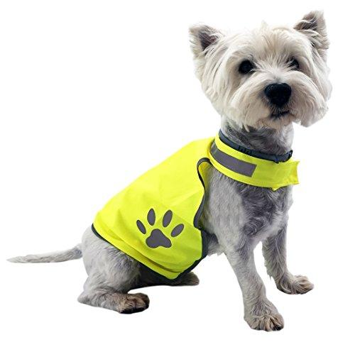 LOESUNGLTD Hundeweste – Warnweste zum Schutz für kleine bis mittlere Hunde – Signalweste reflektierend – Reflektorweste neon-gelb