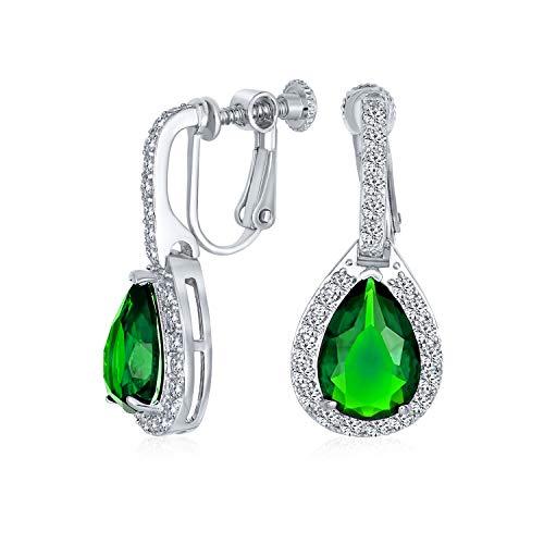 7CT Vintage estilo halo simulado verde esmeralda cúbica Zirconia AAA CZ moda colgante gota lágrima tornillo espalda clip en pendientes para las mujeres prom desfile dama de honor plata plata plateada