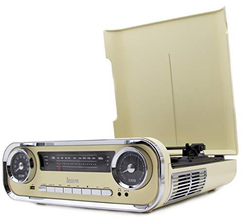 Giradischi Designer Auto d'epoca 2 altoparlanti stereo da 3W integrati lettore lp con radio FM, funzione Bluetooth, USB, AUX | 3 velocità (33, 45, 78) Lauson 01TT15 (Crema)