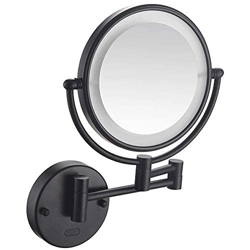 HYLX Espejo de baño Espejos de Afeitar Maquillaje Espejo Iluminado LED montado en lapared Espejo con Sensor de Aumento 3Xpara la vanidad del Hotel Salud Dos Superficies giratorias Instalación o
