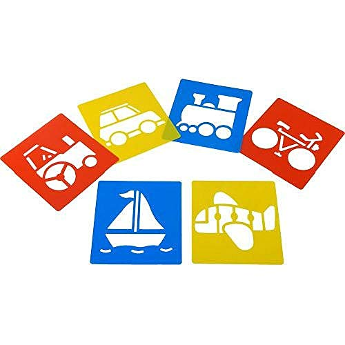 Washable plastic stencils - Transport themed - pack of 6 - 15cm x 15cm - childrens arts and crafts
