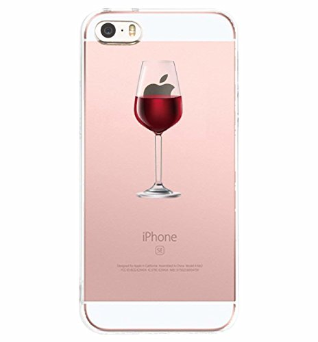 Alsoar Compatibile/Sostituzione per iPhone SE Cover Clear iPhone 5 iPhone 5S Custodia Summer Panda Drink Transparente Silicone Cover TPU Gel Protettivo Anti-Scratch Non-Slip Skin Shell (Vino)