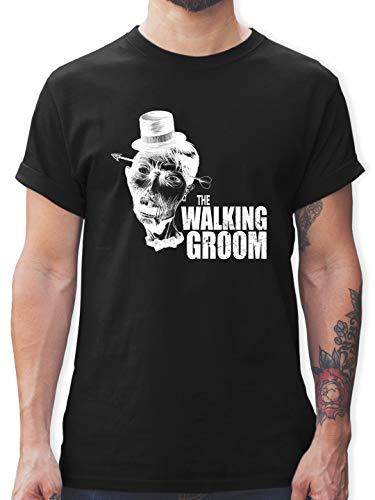 JGA Junggesellenabschied Männer - The Walking Groom weiß - Zombie JGA - 3XL - Schwarz - t-Shirt ich wollte Zombies - L190 - Tshirt Herren und Männer T-Shirts