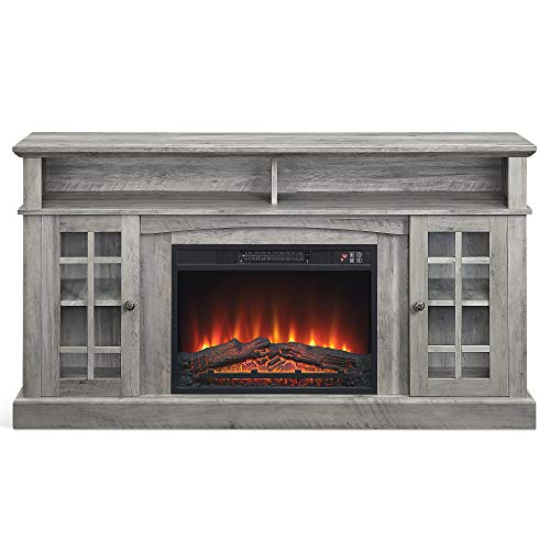 """BELLEZE Fireplace TV Stand with Remote Control Console Media Shelves for TVs up to 65"""", Grey Wash"""