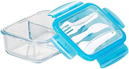 Rosenstein & Söhne Glas Lunchbox: Glas-Frischhaltedose, 2 Kammern, Besteck, Klick-Deckel, -20 bis 520 °C (Gefrierdosen Glas)