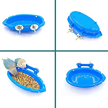 Lvjkes Baignoire Perroquet, Baignoire à Oiseaux, Bol mangeoire pour Oiseaux Baignoire multifonctionnelle pour Alimentation en Eau avec rondelle à vis(Bleu)