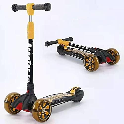 N-S Scooter niños Ascensor Flash aleación de Aluminio niños y niñas Pueden Montar Scooter Yellow