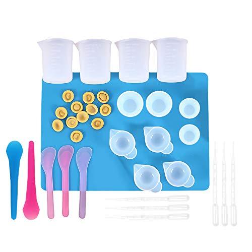 Juego de 36 piezas de resina, juego de herramientas de resina epoxi con hoja de silicona A4 para medir, mezclar, separar, tazas, cucharas, cunas para dedos, goteros, kit de manualidades