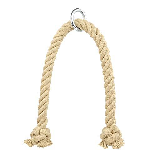 Kanirope® Professionelles Trizeps Seil PUMP Standard aus Polyhanf 28mm 85cm mit Metall-Ring Trizepsseil Trizeps Tau Trizepstau Seil Kraftstation Zughilfe Kabelzug