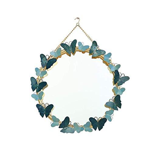 Llg Household Items Miroir De Maquillage En Métal Avec Cadre Ronde Hanging Miroir Fond Creative Salon Mur Décoration Simple Et élégante Girl