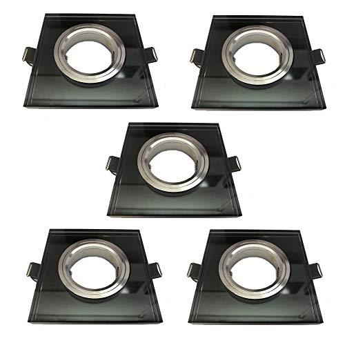 KIT 5 unidades ARO empotrable ojo de buey cuadrado cristal negro, diametro de corte 60mm, apto para bombilla dicroica LED, casquillo porcelana GU10 incluido