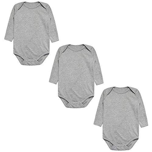 BINIDUCKLING Unisex Baby Body Langarm 3er Pack, 7-9 Monat, Grau