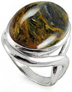 Sterling Silver Ring with Oval Pietersite Stone (BTS-NRB6618/PIT/R)