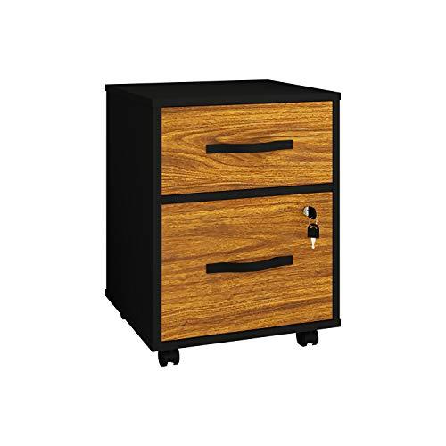 PLAYCON Archivero Esencial con 2 Cajones 42X40X56cm Color Tzalam, cajón con Llave y correderas de Apertura Total, 4 Ruedas para fácil...