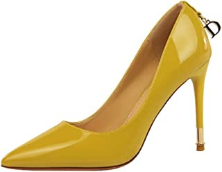 Women's Classic Pointed Toe Genuine Leather High Heels Slip On Stiletto Pumps Dress Basic Shoes