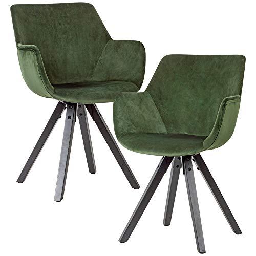 FineBuy Sedie per Sala da Pranzo Verde Set di 2 Velluto e Legno Retro Sedie | Design Sedie da Cucina Imbottito | Sala da Pranzo Poltroncina con Braccioli