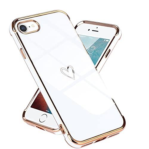 Lafunda kompatibel mit iPhone 7/iPhone 8/iPhone SE2020 Handyhülle Mädchen Liebesherz Silikonhülle weich TPU Hülle Ultra dünn Stoßfeste Schutzhülle Bumper Silikon case für iPhone 7/8/SE2020 Weiß
