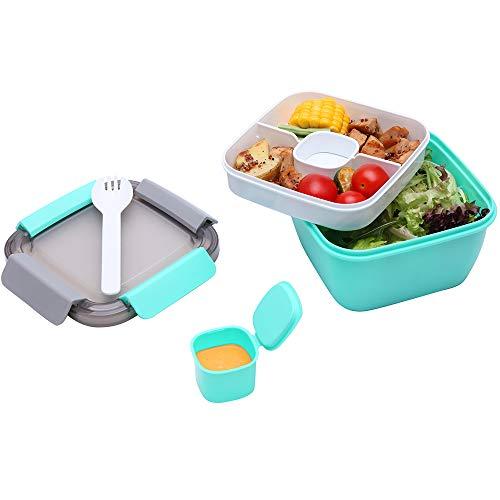 1.1 Liter Salatbehälter mit Getrenntem Dressingtöpfe und Besteck, Auslaufsichere Salatschüssel To Go mit 2 Fächern für Salattoppings und Snacks, Grün Salatbox aus Kunststoff