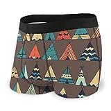 Nancyint Mens Boxer Briefs Cute Cartoon Teepee Native American Summer Tent Boys Trunks Underwear Short Leg Transpirable Hombre XL