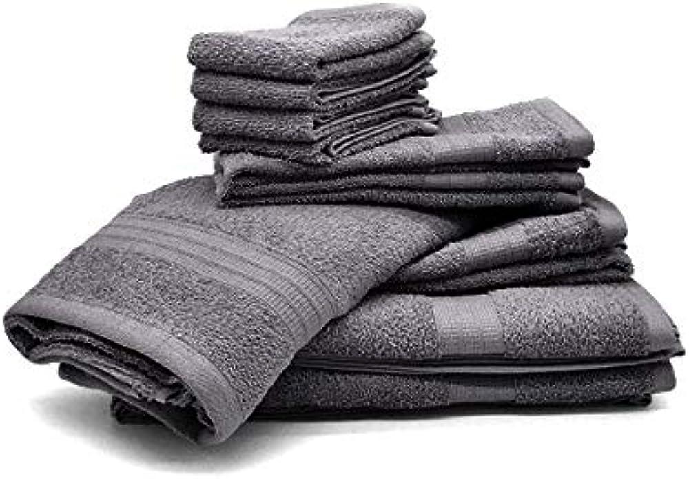 Bassetti, set 10 asciugamani,in spugna 100% cotone ANTRACITE