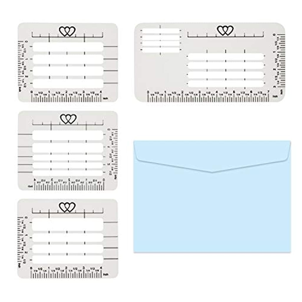 Qihaihp 4 Pcs 4 Style Address Stencil Envelope Addressing Guide Stencil Templates, Envelope Guideline Template for Wide Range of Envelopes, Sewing, Thank You Card, Scrapbooking Template