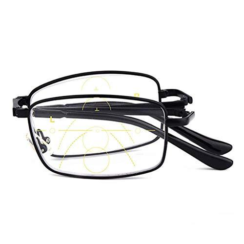 ZZAI Gafas de Lectura Multi-Enfoque lejos y Cerca de Gafas presbiliares de Doble Uso/Plegable Dorado Neutro- + 1.5 (Color : Negro, Size : +1.5)