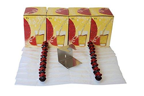 Set: 20x Bag in Box Beutel ❀ 5 Liter ❀ +4 Kartons & Ständer aus Edelstahl