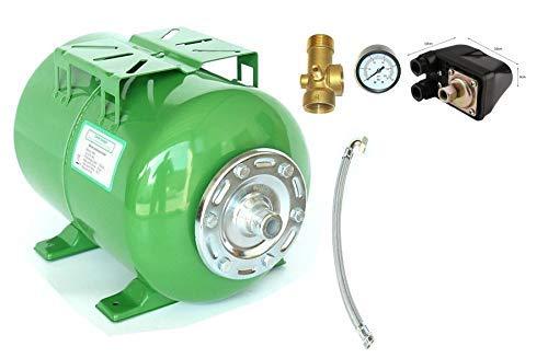 Druckkessel 24 Liter + Zubehör, Größe H 29 cm L 46 cm D 26 cm. Ausdehnungsgefäß Membrankessel Hauswasserwerk. Max. Druck 8 Bar m. EPDM Membran.