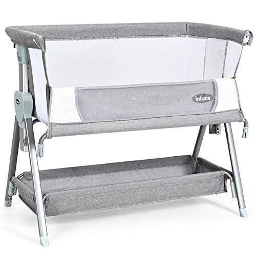 INFANS Baby Bedside Crib, Newborn Sleeper w/Large Storage Basket, Adjustable Heights & Angle, Detachable &Washable Mattress, Breathable Mesh, Straps, Easy Moving Bed Side Bassinet, Light Grey