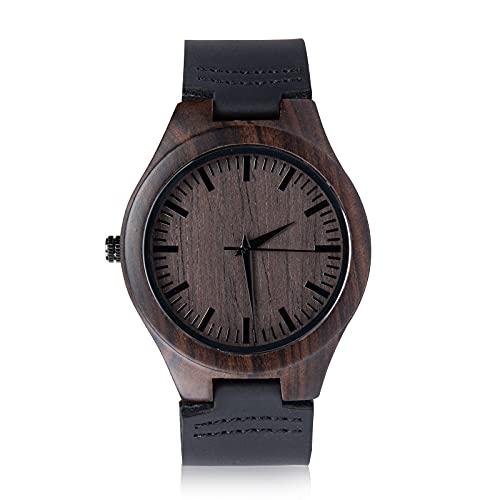 Jewelora Reloj Personalizado para Hombre Grabado Retro Madera Casual Reloj de Pulsera Digital Correa de Cuero de PU Regalo para Padre Hijo Marido Novio Amante Mejores Amigo