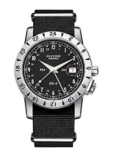 Glycine Airman DC-4 Vintage GMT GL0071-3904.191H12.TB9 - Reloj de pulsera para hombre, analógico, automático