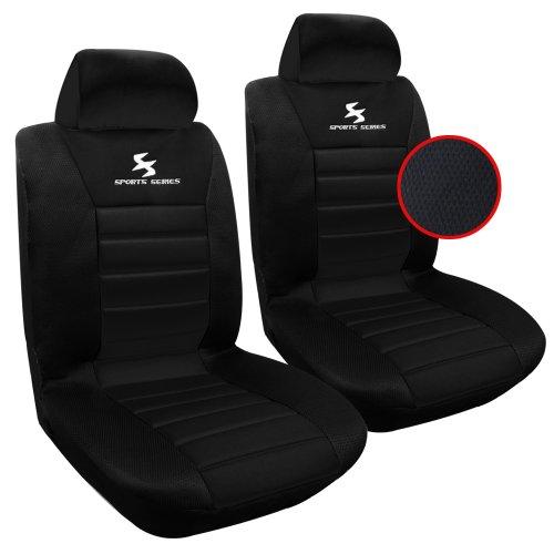 WOLTU 2X Fundas de Asiento para Coche Universal Delantero Cubierta para Asiento Automóvil sin Bolsa de Aire 100% Poliéster Negro AS7255-2
