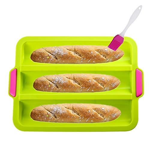 KeepingcooX Moule à baguette en silicone antiadhésif pour la cuisson de pain français 3 pains ondulés chaque pain 28 x 6 cm Moule à toast Bakers Moule à 3 gouttières Four Toaster Cloche Waves