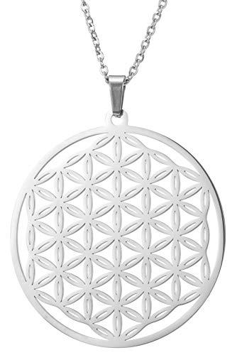 TEAMER Moda Flor de la Vida Collar Plata Acero Inoxidable Redondo Delicado Lindo Declaración Ahueca Unisex Colgante Collar Regalos 18 Pulgadas(Mandala)