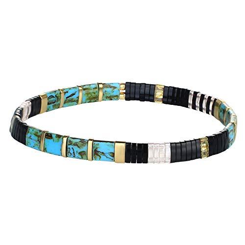 KELITCH Bracelets en Perlés Extensibles Bracelets À Brin Unique Bijoux De Classiques de Corde Fait À La Main pour Femmes