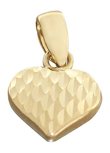 Hobra-Gold KLEINES HERZ GOLD 585 GOLDANHÄNGER GOLDHERZ 14 KT ANHÄNGER FUNKELND GESCHLIFFEN