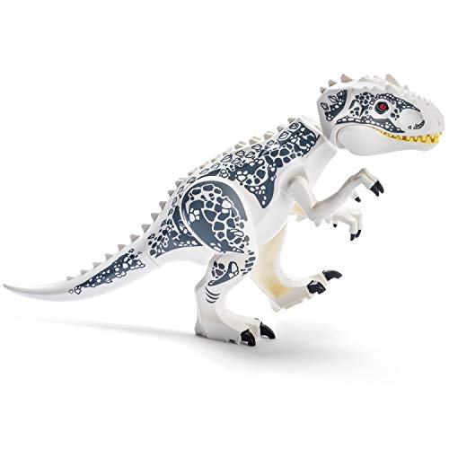 Large White Jurassic T-Rex Dinosaur Toys Building Blocks Indominus Figure for Boys and Girls Ages 3+ - Educational Jurassic Dino Toys - Great TREX with Dinosaurio Sticker Sheet Included!