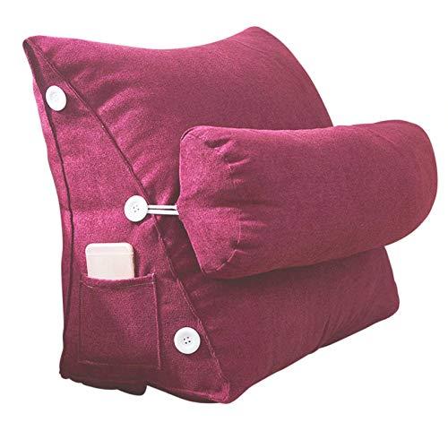 Cuscino triangolare da lettura con tasche laterali, grande cuscino per il posizionamento dello schienale della testiera, cuscino a cuneo per divano letto a castello con rivestimento rimovibile