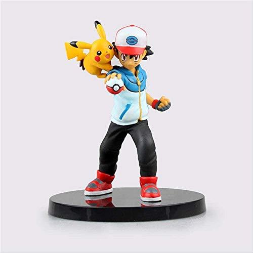 KIJIGHG Juguetes de Dibujos Animados Ash Ketchum con Pika Figura de acción Modelo Juguetes 13cm Figura de Anime Figuras de acción Modelo de Personaje de Anime