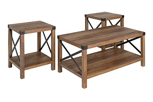 Walker Edison 3-Piece Rustic Wood and Metal Coffee Table Set...